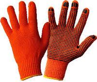 Перчатки из хлопка с ПВХ оранжевые