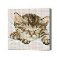 Спящая кошка, 20x20 см, алмазная мозаика