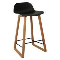 купить Барный стул из пластика, деревянные ножки 460x470x865 мм, черный в Кишинёве