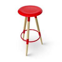 cumpără Scaun bar cu suprafaţa din MDF şi picioare de lemn, 370x780.5 mm, roşu în Chișinău