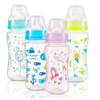 BabyOno бутылочка пластиковая антиколиковая с широким горлышком, 300мл