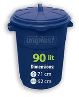 купить Урна мусорная с крышкой- 90 л,  пластик (синий) в Кишинёве
