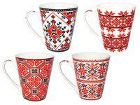 Чашка конус с красным орнаментом 300ml