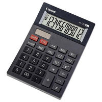 Calculator Canon AS-120, Black, 12 digit , Large LCD (91.5x23.8mm), Character Size (19x6.12mm), Adjustable (2-level) Display, Double Independent Memory, Command Signs, Auto-power Off, Power (Solar and battery LR44), Size 177x119x37mm, Weight 152g