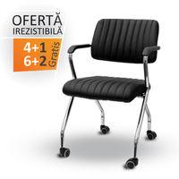 купить Стул для офиса на колесиках с подлокотниками, черный в Кишинёве