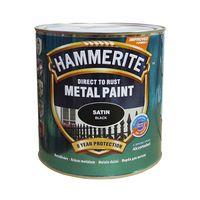 Hammerite Краска для металла Черная полуматовая 0.75л