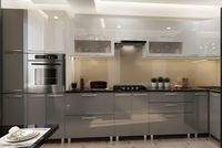 Bucătărie Bafimob Corner (High Gloss) 4.1x0.9m Eco +ball closer Grey/White