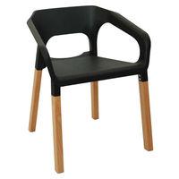 Пластиковый стул со специальной конструкцией, деревянные ножки 595x560x710 мм, черный