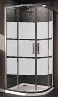 Cabină pentru duș ROUND2, profil crom, geam sablat 6mm, L.90xL.90xH.185cm
