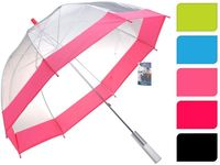 Зонт-трость прозрачный D87cm, с разноцв каймой