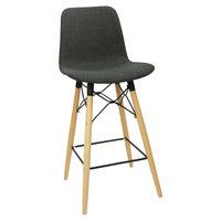 купить Барный стул из пластика с обивкой, деревянные ножки 475x470x1040 мм, черный в Кишинёве
