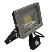 Прожектор LED V-Tac с датчиком — 10W Black/Grey Body SMD 6000K VT-4810