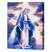 Богородица, 40x50 см, комбинированный набор роспись по номерам + алмазная мозаика, YHDGJ76653