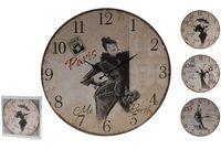 """Часы настенные круглые """"Ретро"""" D34cm, города/бабочки/кoфе"""