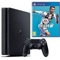 Game Console Sony PlayStation 4 Slim 1TB Black, 1 x Gamepad (Dualshock V2) + CD FIFA 2019