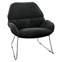 Пластиковый стул с обивкой, железные ножки 805x695x865 мм, черный с темно-серым