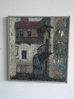 Дворик в Черновцах, 42x38 см., холст, масло