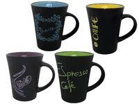 Чашка черная с ромашками/земляникой/coffe 300ml