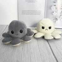 Octopus Plush Reversible, White & Gray