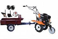 Set motocultivator TECHNOWORKER HB 700N+Remorca RK500 + plug simplu + plug reglabil + roti metalice 4*8 + prasitoare