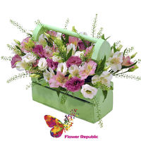"""купить Цветы в деревянном зеленом ящике  """"Зеленый"""" в Кишинёве"""