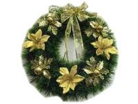 купить Венок новогодний D50cm зеленый, с золотой лентой  в Кишинёве