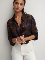 Блуза Massimo Dutti Коричневый/синий 5123/818/400