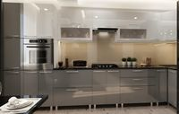 Bucătărie Bafimob Corner (High Gloss) 4.1x0.9m Eco +tandembox Grey/White