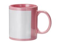 Кружка для сублимации розовая c белым фосфорным окном 11oz