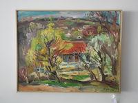 Красный дом (село Малые милешты), 40x50 см., холст, масло