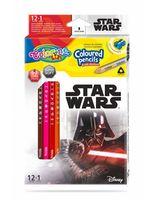 Набор цветных карандашей + 1 карандаш с 2 цветами серебро / золото - Colorino Dinsey Star Wars