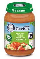 """Gerber Пюре """"Спагетти в томатном соусе с моцареллой""""  (8m+) 190 гр."""