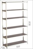 купить Стеллаж металлический Moduline 900x480x1830 мм, 6 полок/0112PE серый в Кишинёве