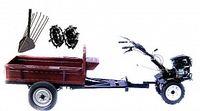 Set motocultivator TECHNOWORKER HB 700RS PRO+Remorca RK500 + plug cartofi + roti metalice 4*8