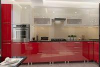 Bucătărie Bafimob Corner (High Gloss) 4.1x0.9m Eco +ball closer Beige/Red