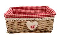 cumpără Coş din salcie cu textil 300x200x140 mm, rosu în Chișinău