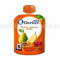 Gerber пюре Груша-малина-злаки 90 гр