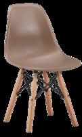 cumpără Scaun din plastic cu picioare de lemn cu suport metalic, 500x460x450x820 mm, cafeniu în Chișinău