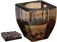 Подсвечник 2in1 7X6X4cm, стекло, золотой перламутр