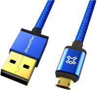 Cable microUSB2.0 1.2m - XtremeMac Reversible microUSB Premium cable, Blue