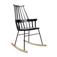 cumpără Scaun leagăn din lemn cu spate înalt, picioare din metal, 730x610x990 mm, negru în Chișinău