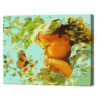 Fetița și fluture Pictură pe numere 40x50 cm