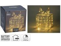 Figurina luminiscenta Cadou 30LED, 15Х15Х15cm, timer, 3XAA, alb-cald