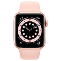 Apple Watch Series 6 44mm Gold Aluminum Case with Pink Sand Sport Band, M00E3