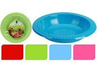 Тарелки одноразовые глубокие 20шт, D18cm, разных цветов