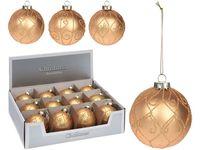 Decor brad Ornament  80mm, sticla, auriu, 3 modele