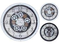 Часы с прозрачным механизмом D50cm,H8cm, пластик, белый