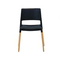 купить Пластиковый стул с деревянными ножками , черный в Кишинёве