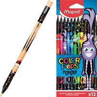 MAPED Карандаши цветные MAPED Black Monster, 12 цветов