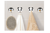 Tatkraft Designs 10468 Набора самоклеящихся детских крючков для полотенец, халатов и пальто, нержавеющая сталь, 2 панды и 2 пингвина в наборе. Tatkraft Designs